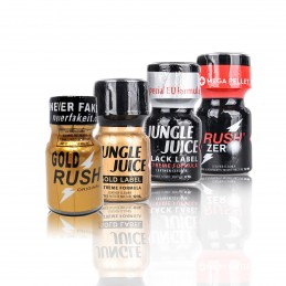 Poppers Packs Black & Gold - Jungle Juice Black Label - Rush Zero - Gold Rush - Jungle Juice Gold Label - 10ml