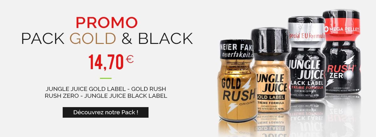 Poppers Packs Black & Gold - Jungle Juice Black Label - Rush Zero - Gold Rush - Jungle Juice Gold Label - 10ml